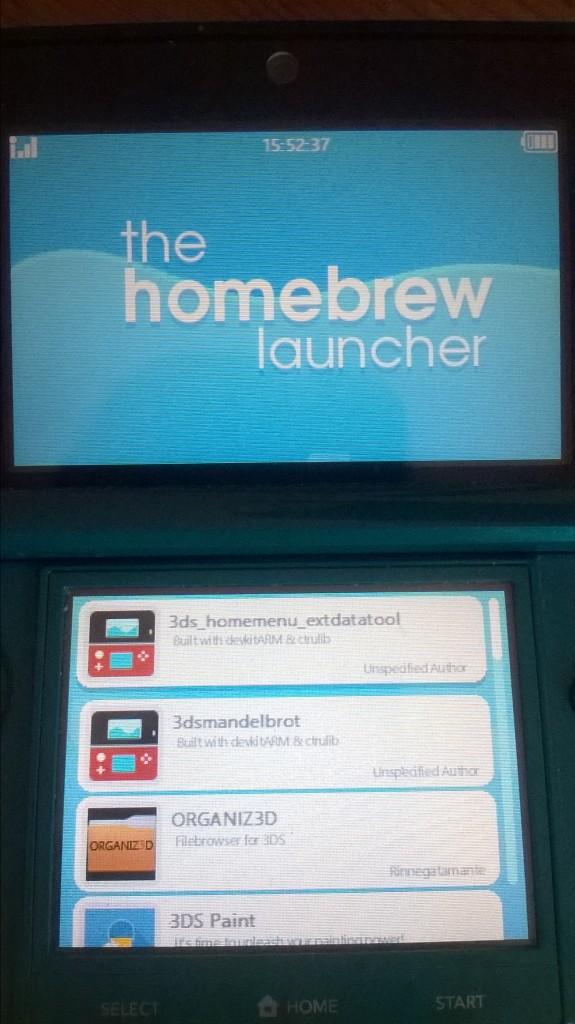 3DS Homebrew Launcher Screenshot