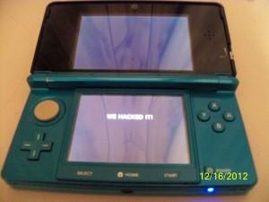 3DS gehackt? Das Bild zeigt einen 3DS im 3DS-Modus mit Botschaft