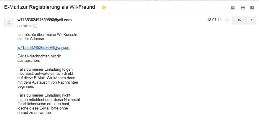 So sieht die Bestätitungs-Mail dann aus (die Mail ist älter, als die WiiDatabase!)