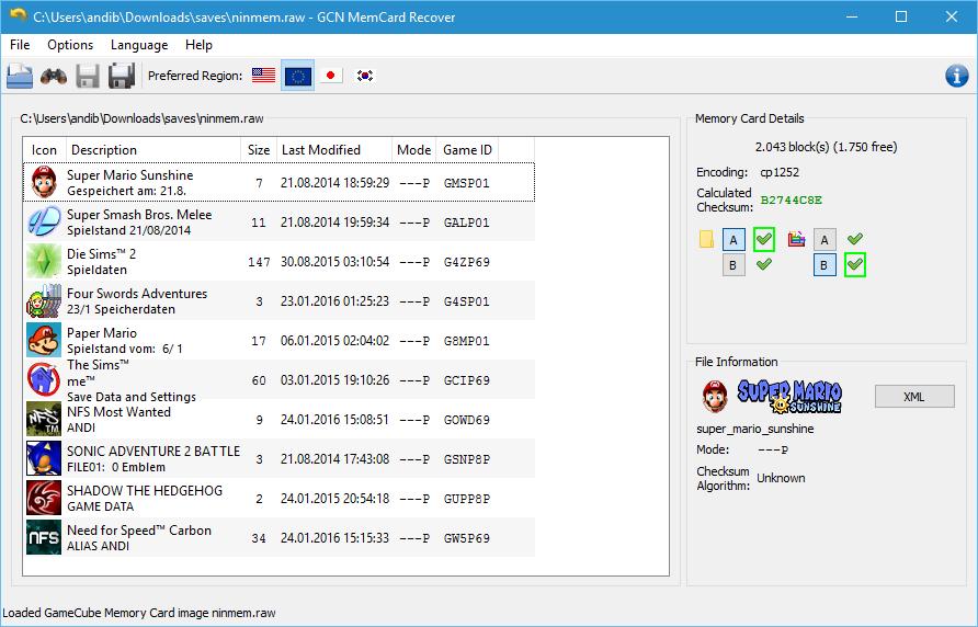 GCN MemCard Recover Win10