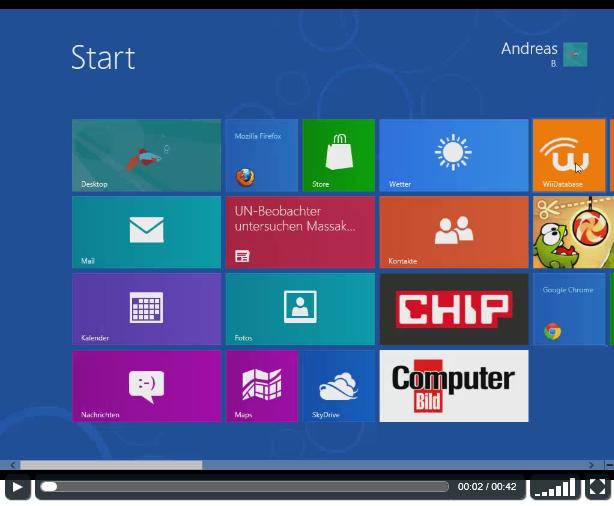 Der neue HTML5-Player - das Bild stammt von einem Windows 8 Release Preview Video (Link unten) und dort habe ich einige Apps getestet - ich lese kein Computer BILD!! :D