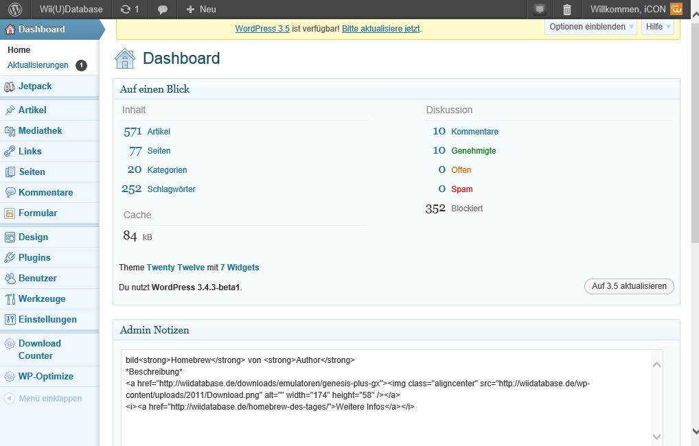 Vorher - Mit WordPress 3.4.3 beta1
